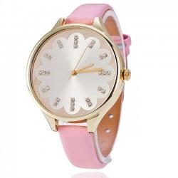 Dámske hodinky kvietok zdobené kamienkami - ružové