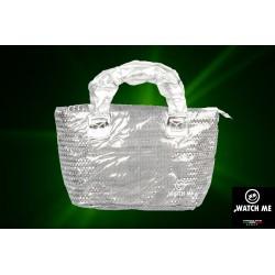 Žiarivá kabelka strieborná