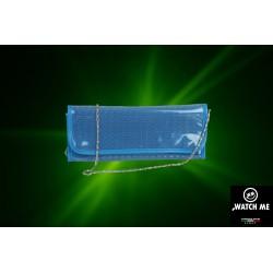 Žiarivá listová kabelka modrá