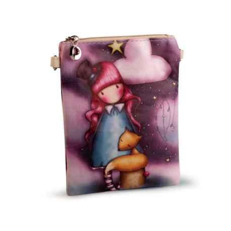 Crossbody kabelka s obrázkom dievčatka šedo fialová