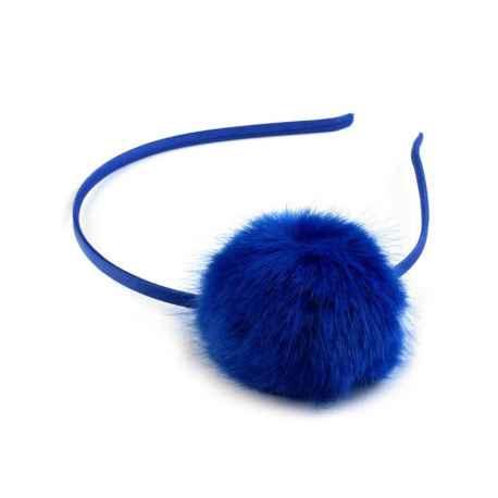 Dievčenská čelenka s bambuľkou modrá