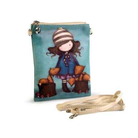 Crossbody kabelka s obrázkom dievčatka šedo zelená