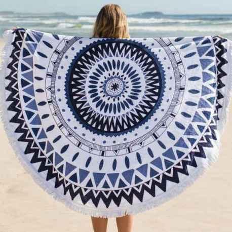 Okrúhla osuška Mandala blue sea