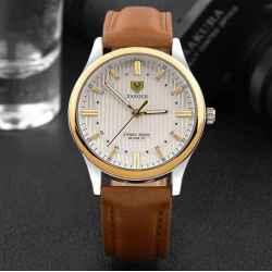 Yazole pánske hodinky so svetlým pozadím a hnedým remienkom
