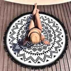 Osuška okrúhla Mandala čierno biela