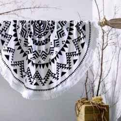 Osuška okrúhla Mandala white