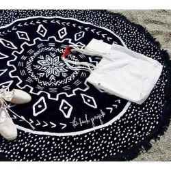 Osuška okrúhla Mandala black