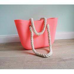 HIT SEZÓNY - štýlová silikónová kabelka korálovej farby