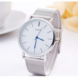 Strieborné dámske hodinky s modrým ciferníkom