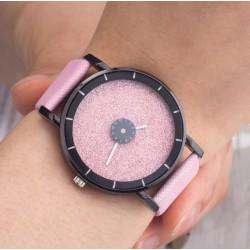 Dámske hodinky žiarivý disk rúžový