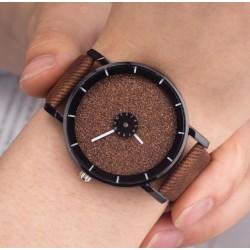 Dámske hodinky žiarivý disk hnedý