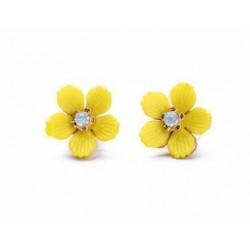 Náušnice Kvetinka v žltej farbe